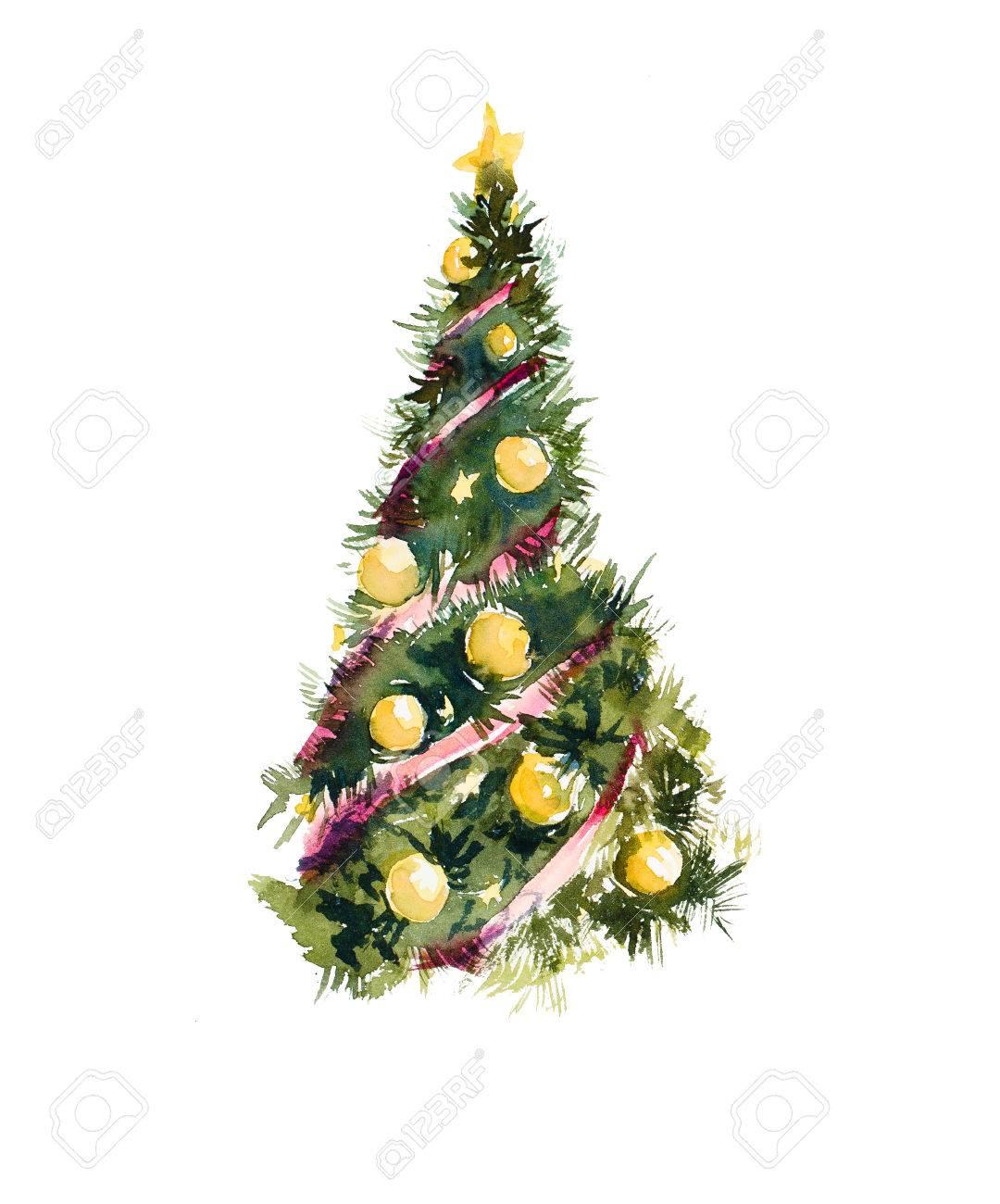 Christmas Tree Watercolor Hand Drawn Illustration Stock Photo