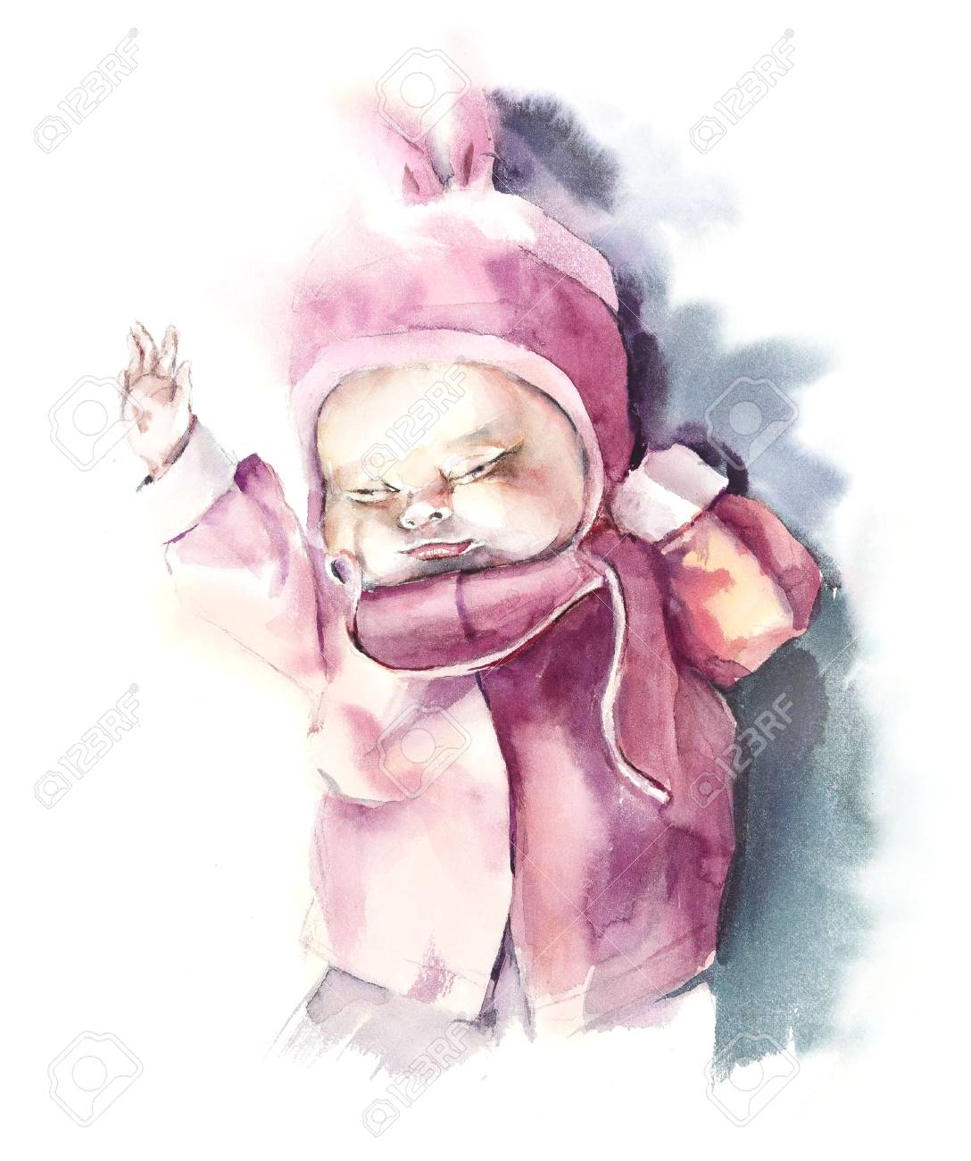 Baby girl watercolor hand drawing illustration stock illustration 107437692