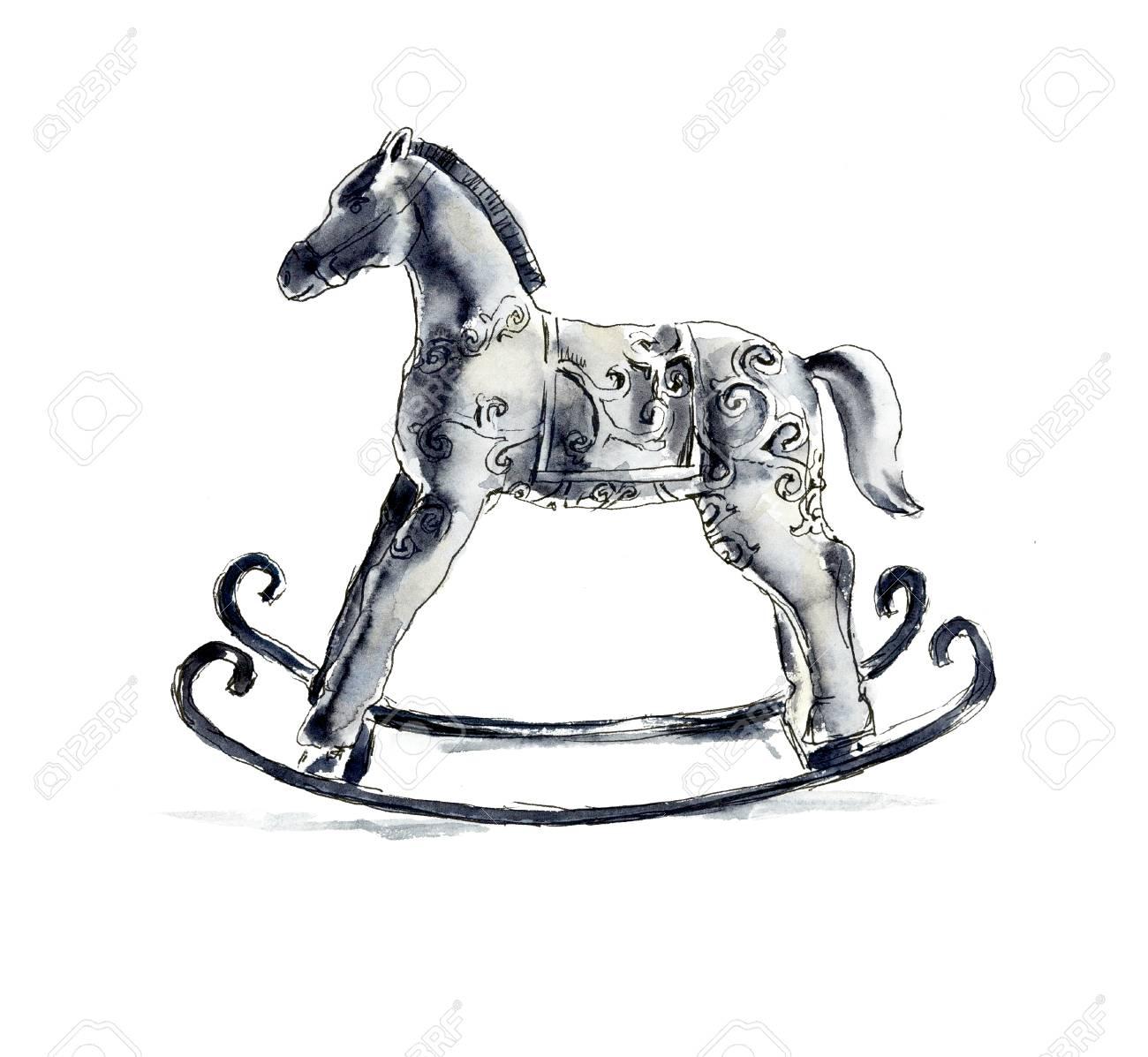 Christmas Horse Drawing.Stock Illustration