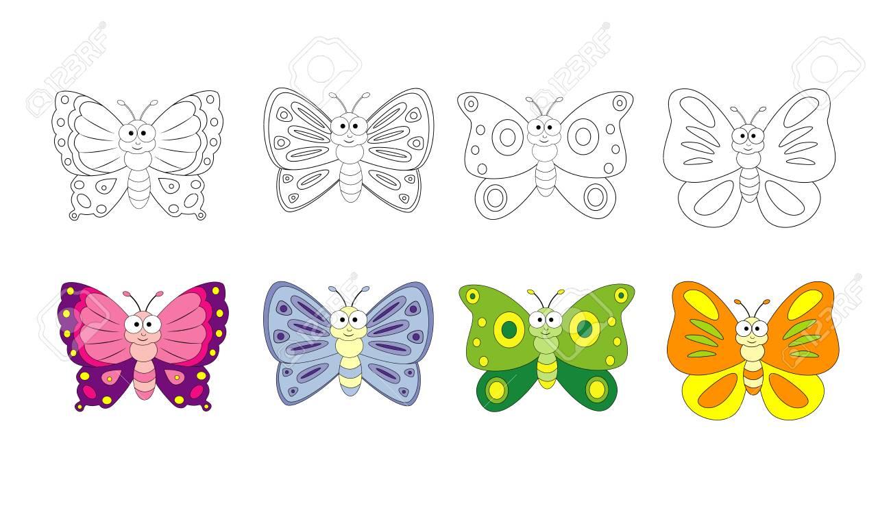 Vettoriale Pagina Del Libro Da Colorare Per Bambini In Eta Prescolare Con Farfalle Colorate E Disegno Da Colorare Illustrazione Della Farfalla Di Vettore Isolata Su Fondo Bianco Image 98111431