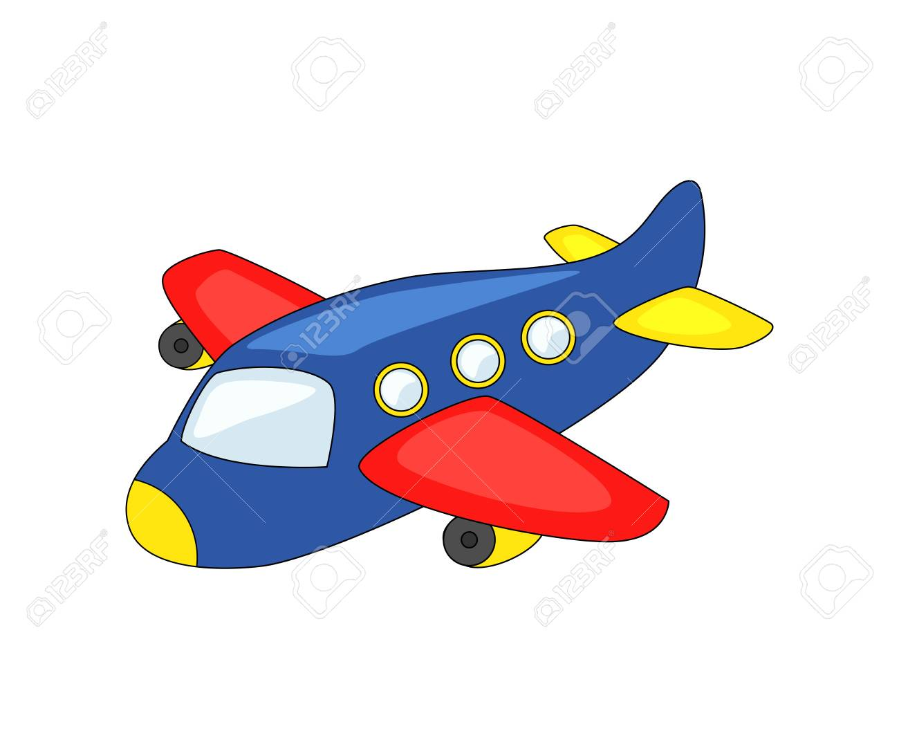 Cute Cartoon Airplane Vector Illustration Isolated On White