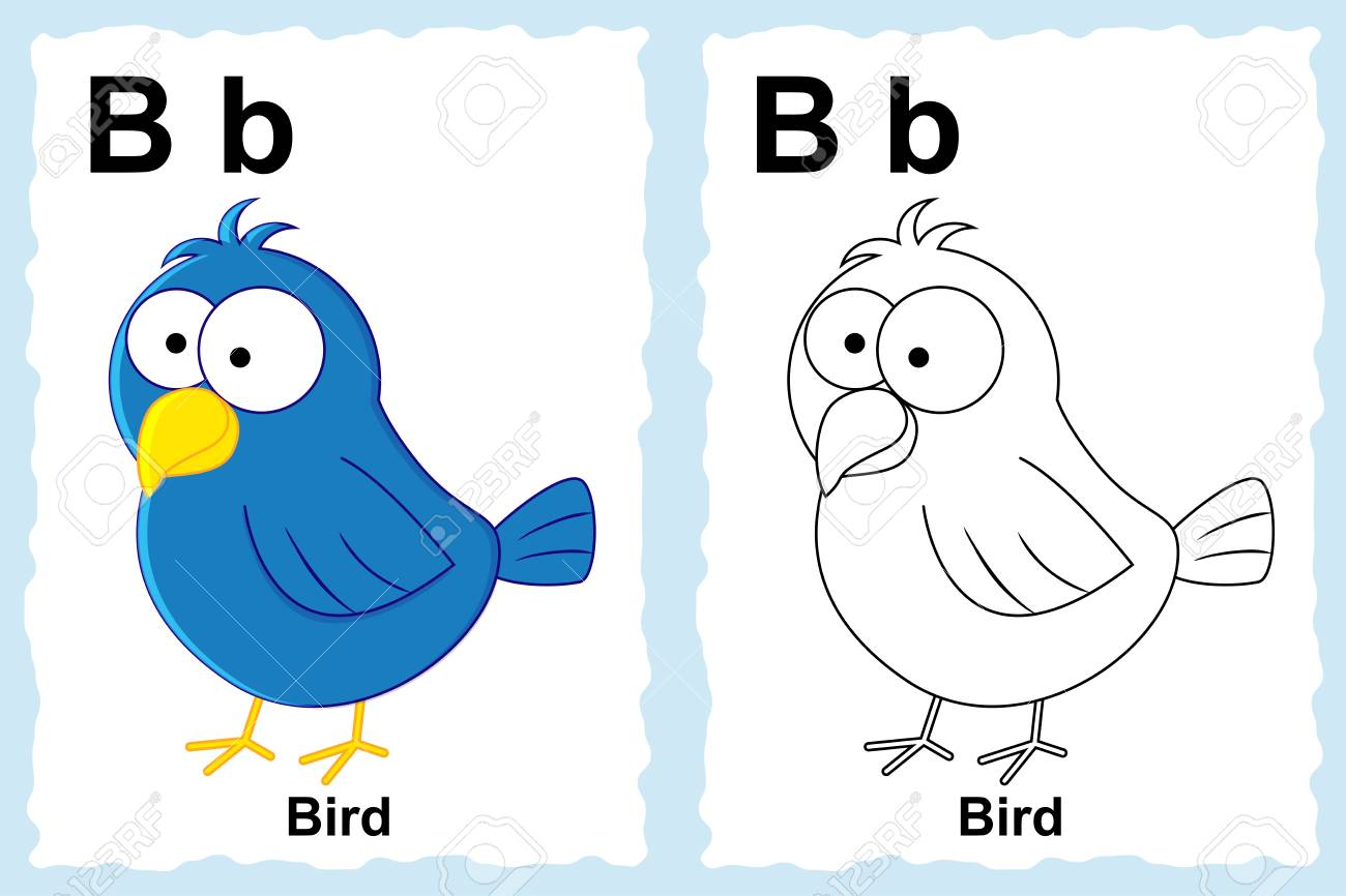 Alphabet Coloring Book Page With Outline Clip Art To Color Letter B Bird
