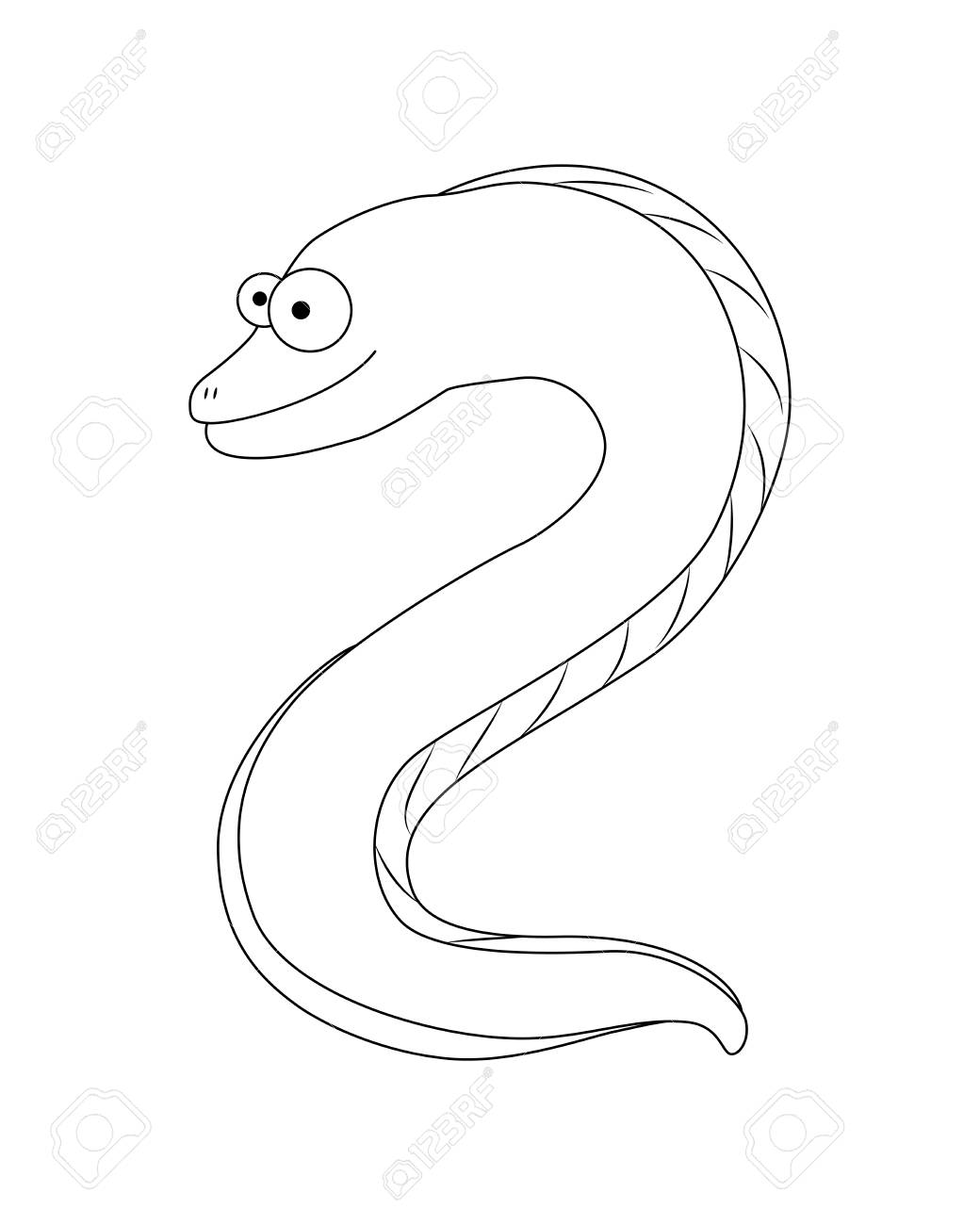 Colorless Funny Cartoon Moray Eel. Vector Illustration. Coloring ...