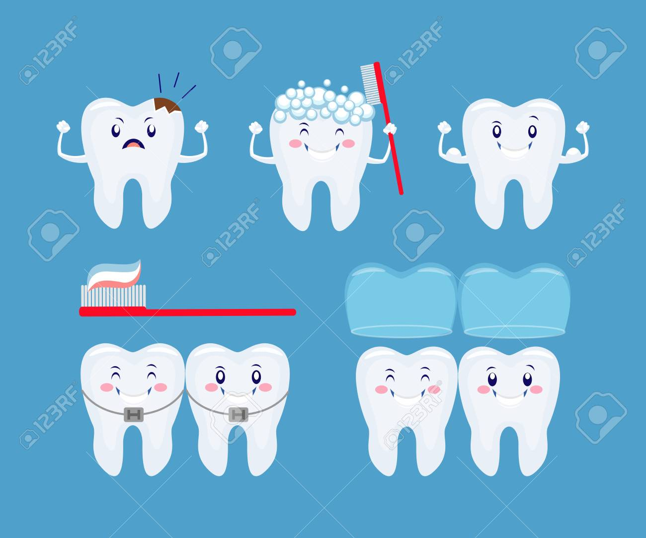 tooth health icon set funny cartoon teeth set tooth care consept