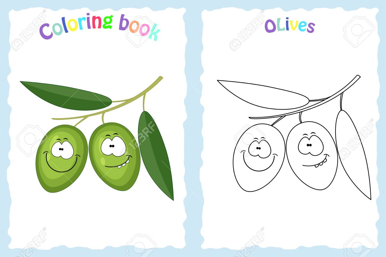 Coloring Book Page For Children With Colorful Olives And Sketch ...