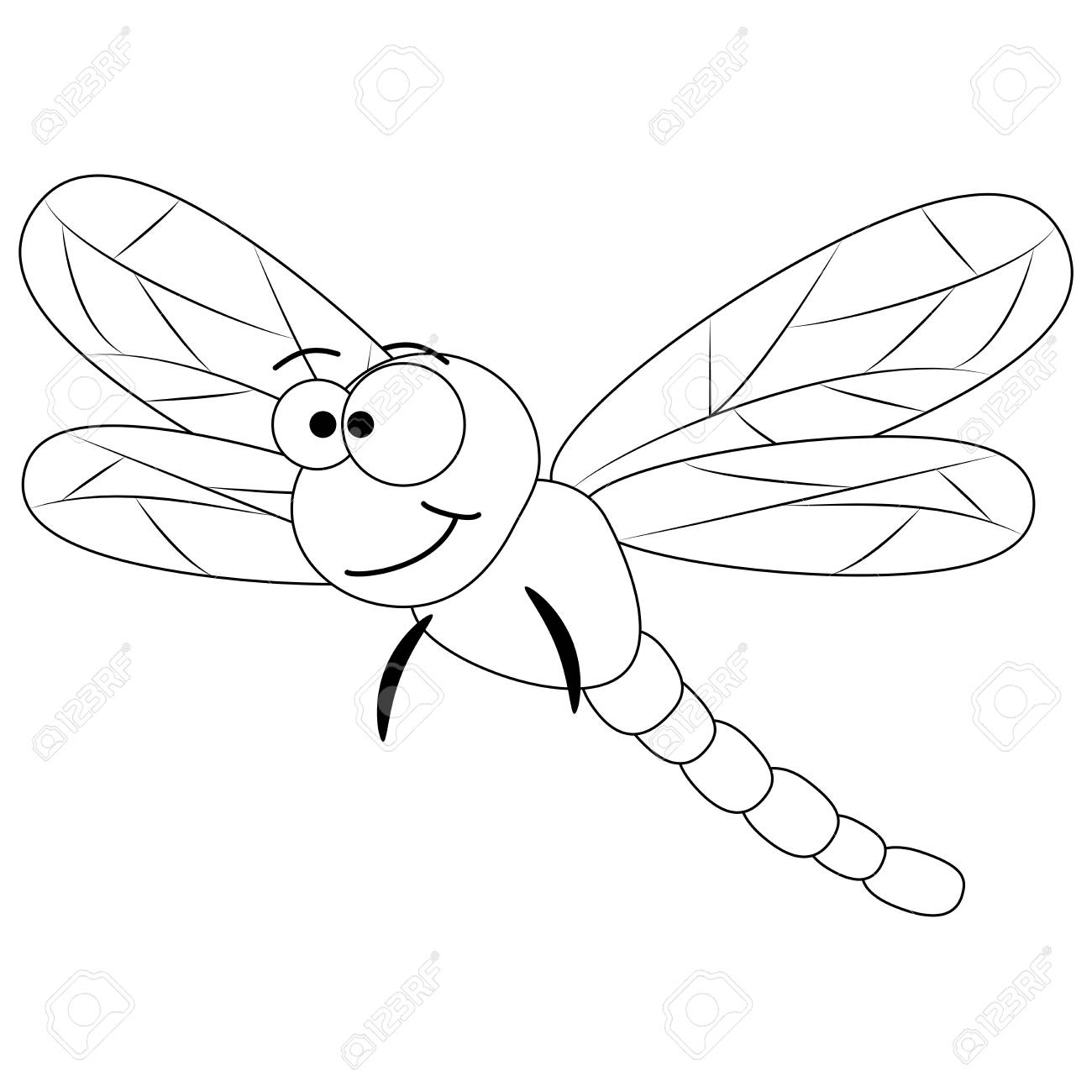 Colorless Funny Cartoon Dragonfly. Vector Illustration. Coloring ...