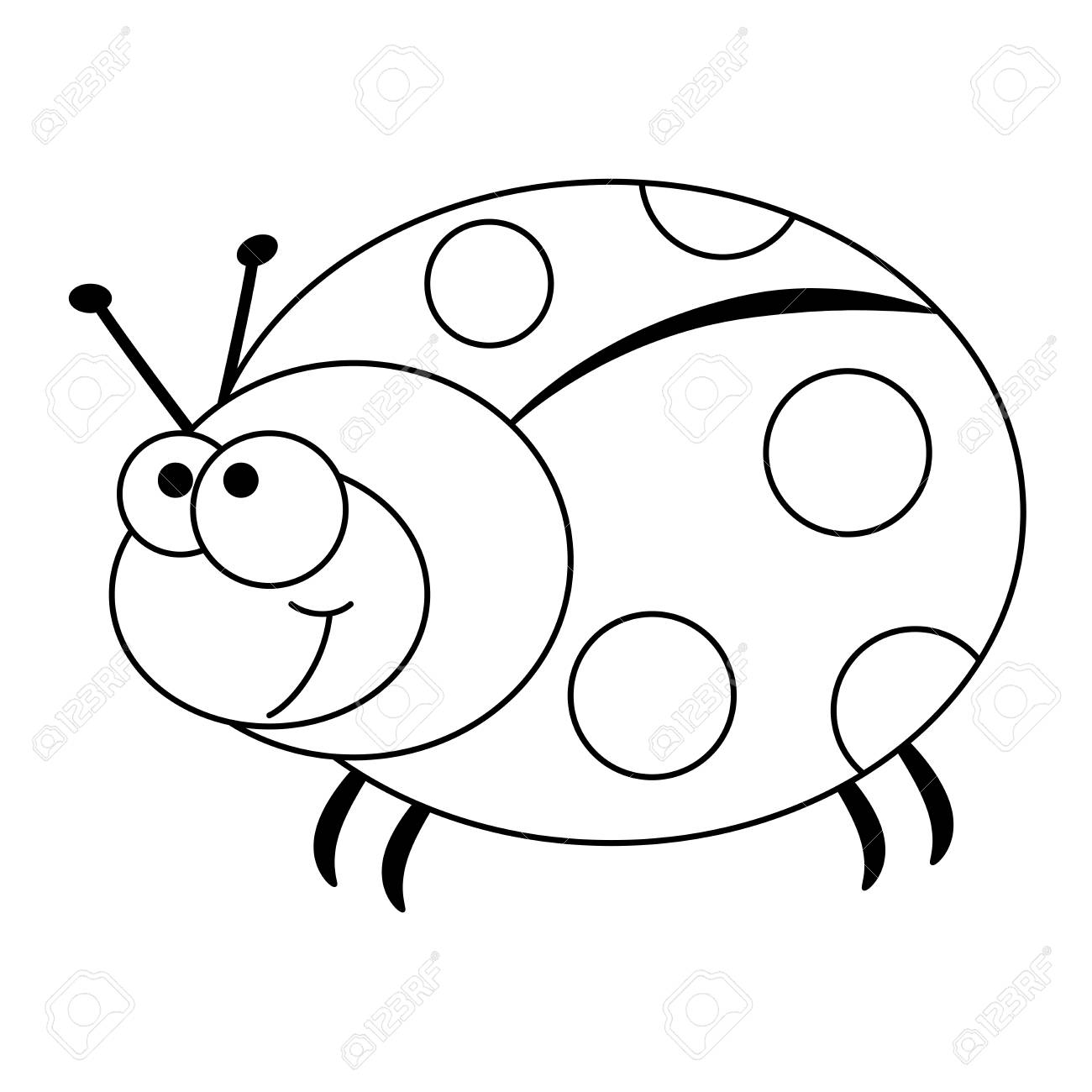 Colorless Funny Cartoon Ladybug Vector Illustration Coloring