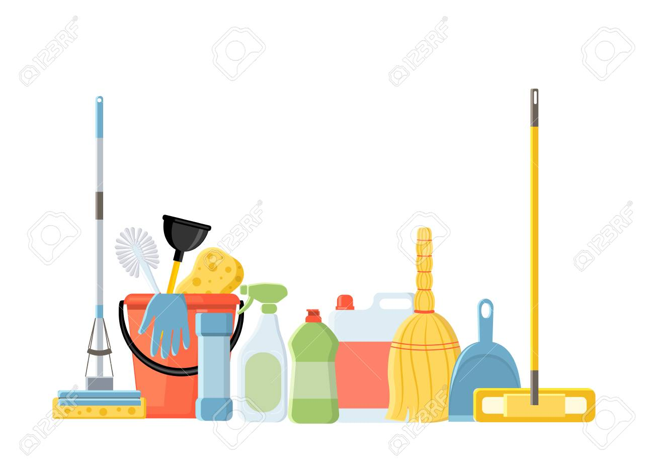 Cleaning tools in flat cartoon style vector illustration isolated on white background. Mop, sponge, detergent, bucket, brush. - 109808823