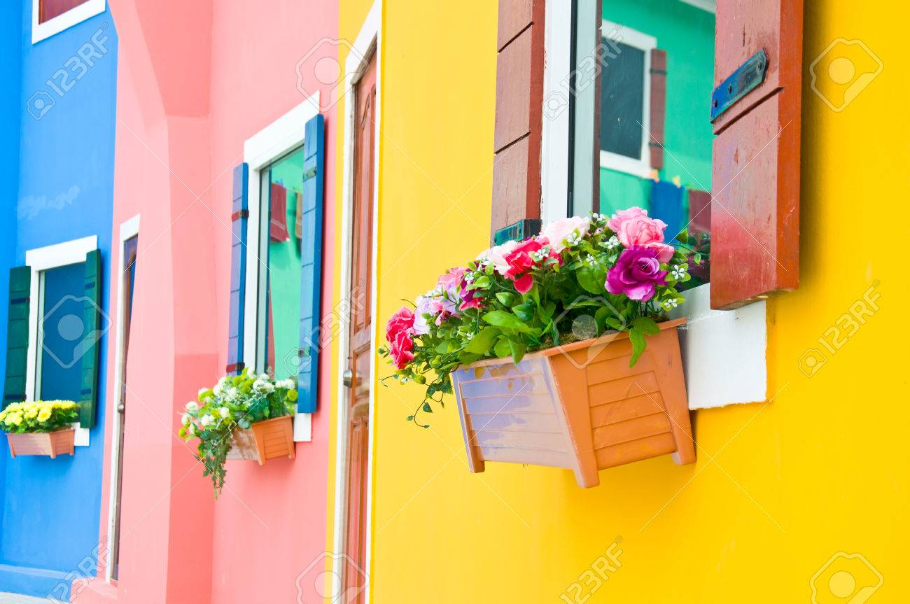 Colorful Of Artificial Flower For Window Decoration Stock Photo ...