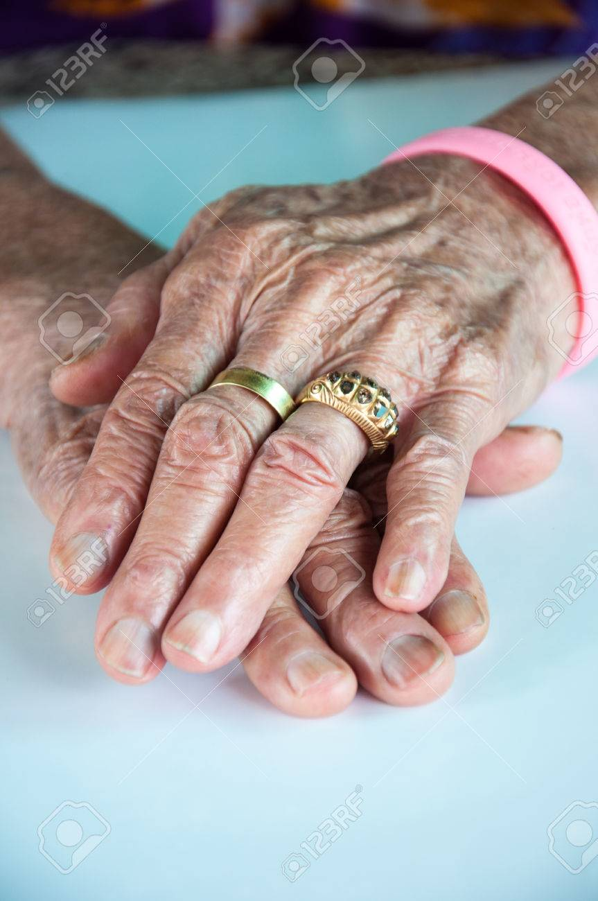 Old Woman Hand With Wedding Ring Stock Photo, Picture And Royalty ...