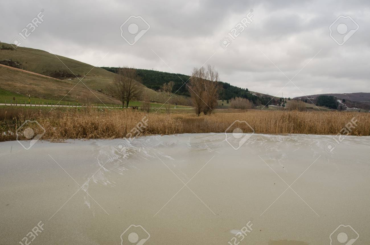 A view of frozen lake in Umbria Stock Photo - 16793568