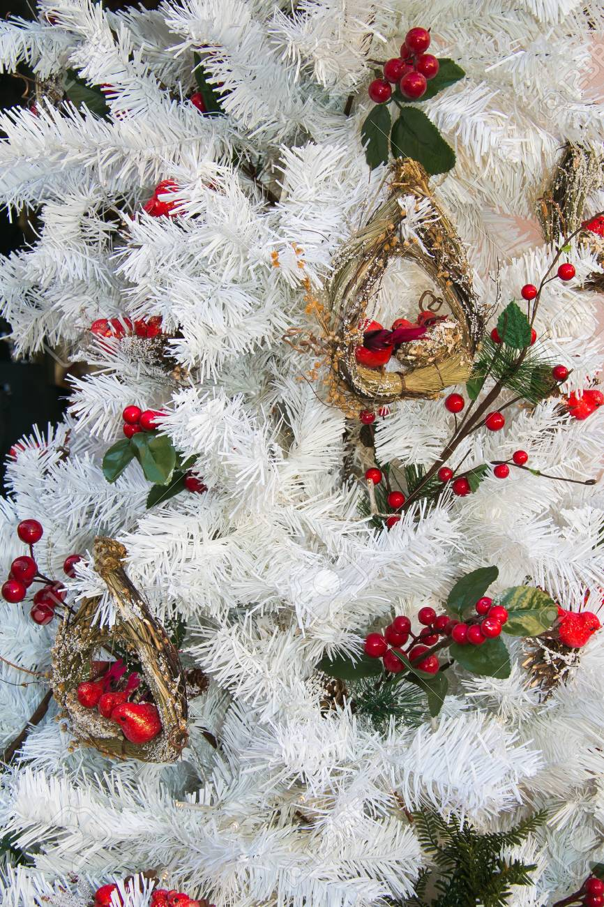 White Christmas Tree With Red And Green Decorations Stock Photo Picture And Royalty Free Image Image 66572421