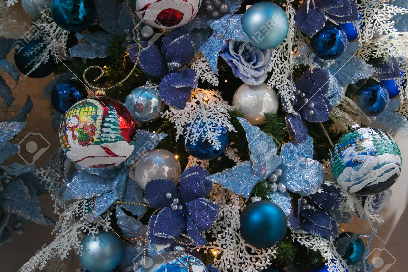 Detail Of Blue Christmas Tree Decorations Stock Photo Picture And Royalty Free Image Image 88938215
