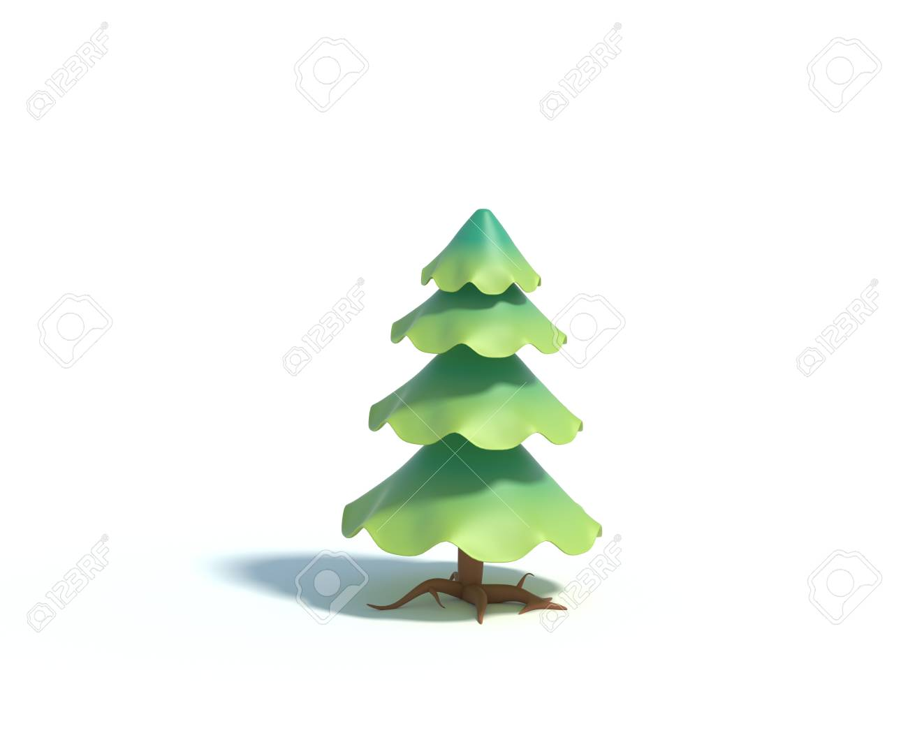 3d Rendering Of Cartoon Fir TreeSimple Green Pine Tree With Shadow Isolated On White