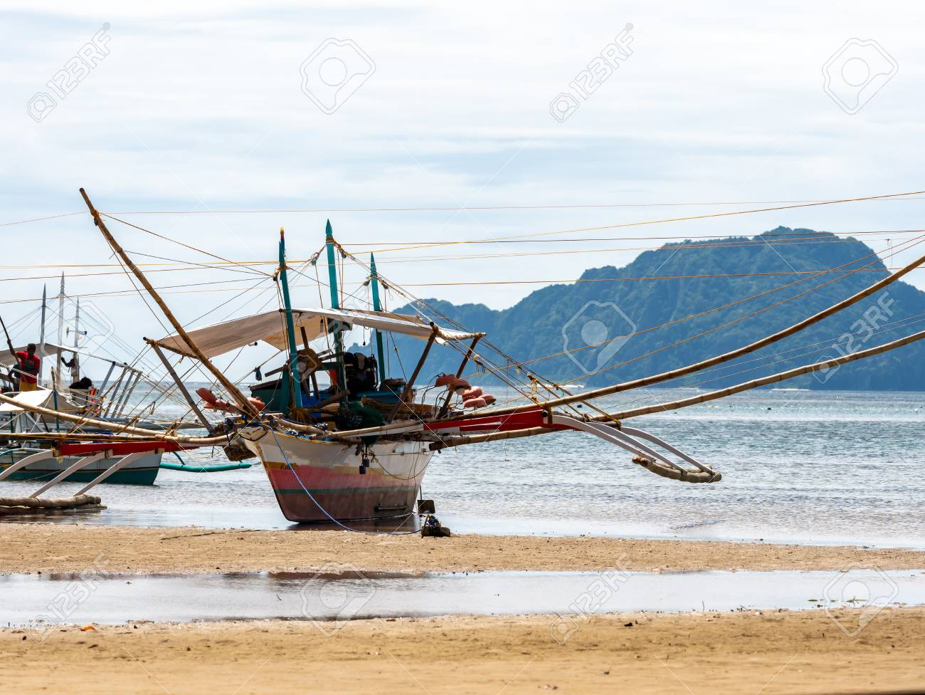 Boat On The Beach In Coron Palawan Philippines