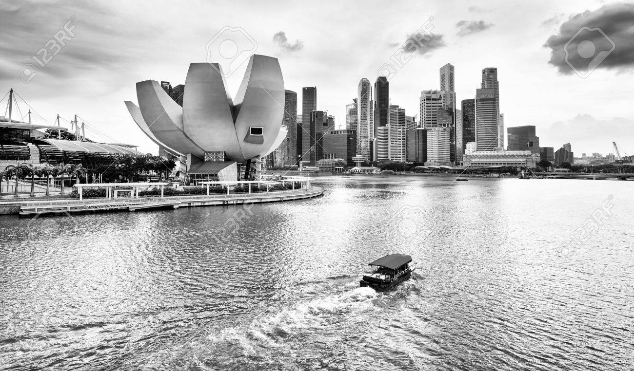 Singapore skyline and view of marina bay black and white color stock photo 39533003