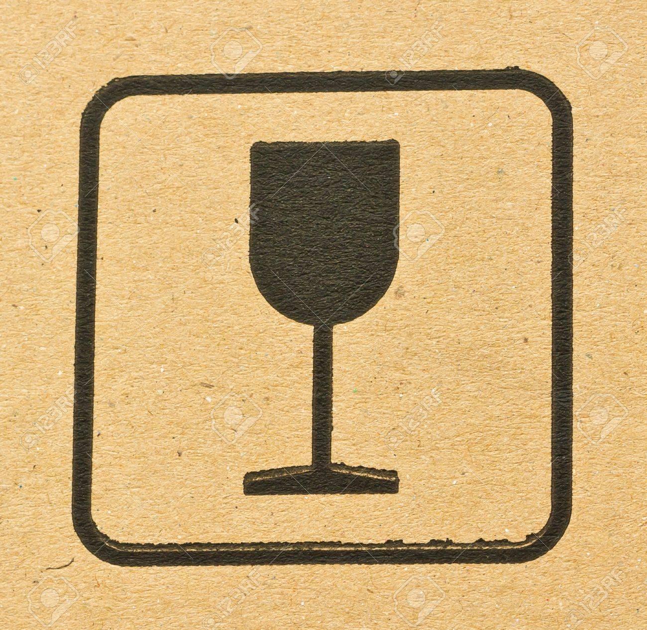 Black fragile symbol on cardboard Stock Photo - 18960399