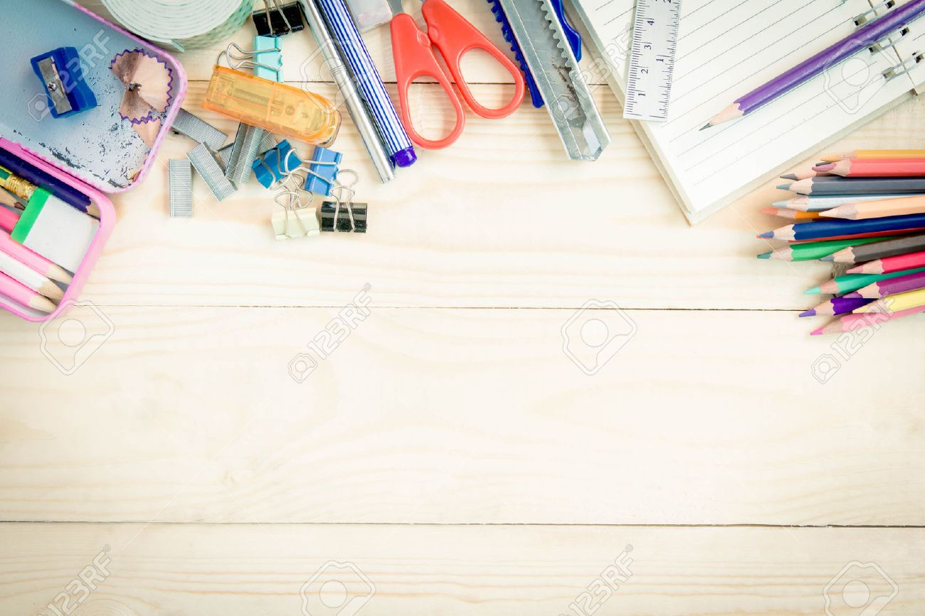 School and office supplies on wood background. Back to school. Stock Photo - 43227499
