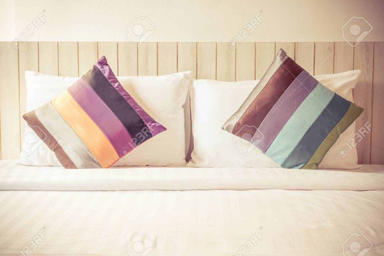 Colorful Bed Sheets And Pillow. Vintage Style. Stock Photo, Picture ...