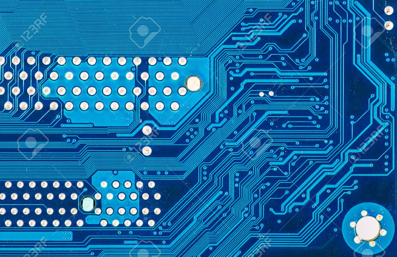 Blue Circuit Board Background Of Computer Motherboard Stock Photo ...