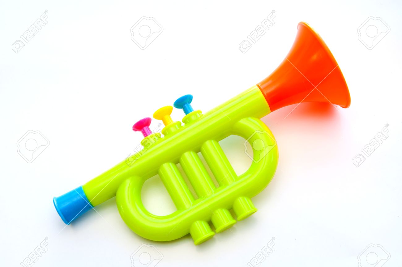 Trumpet toy for kids isolated on white background Stock Photo - 11724236