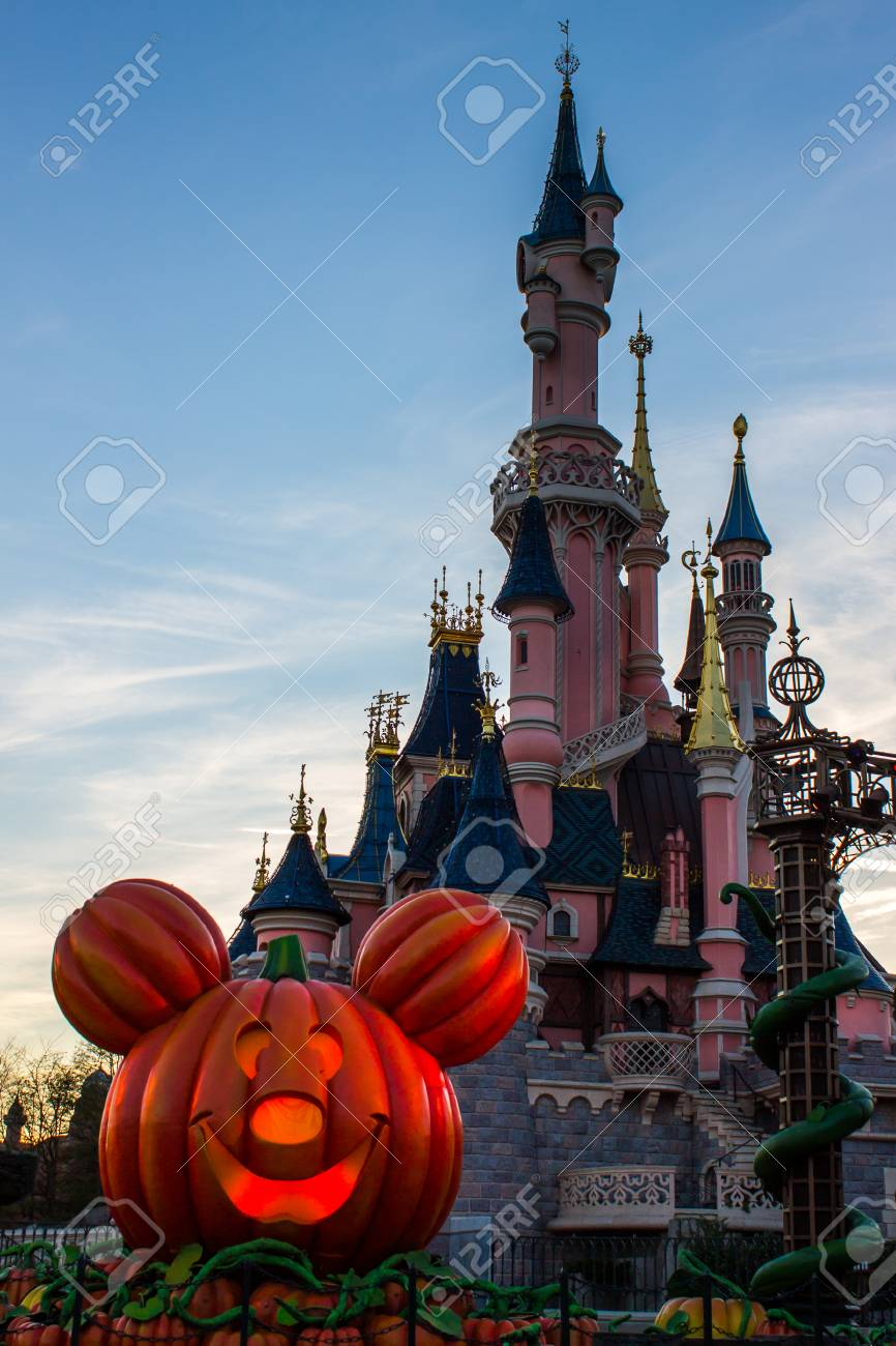 disneyland paris castle during halloween celebrations stock photo