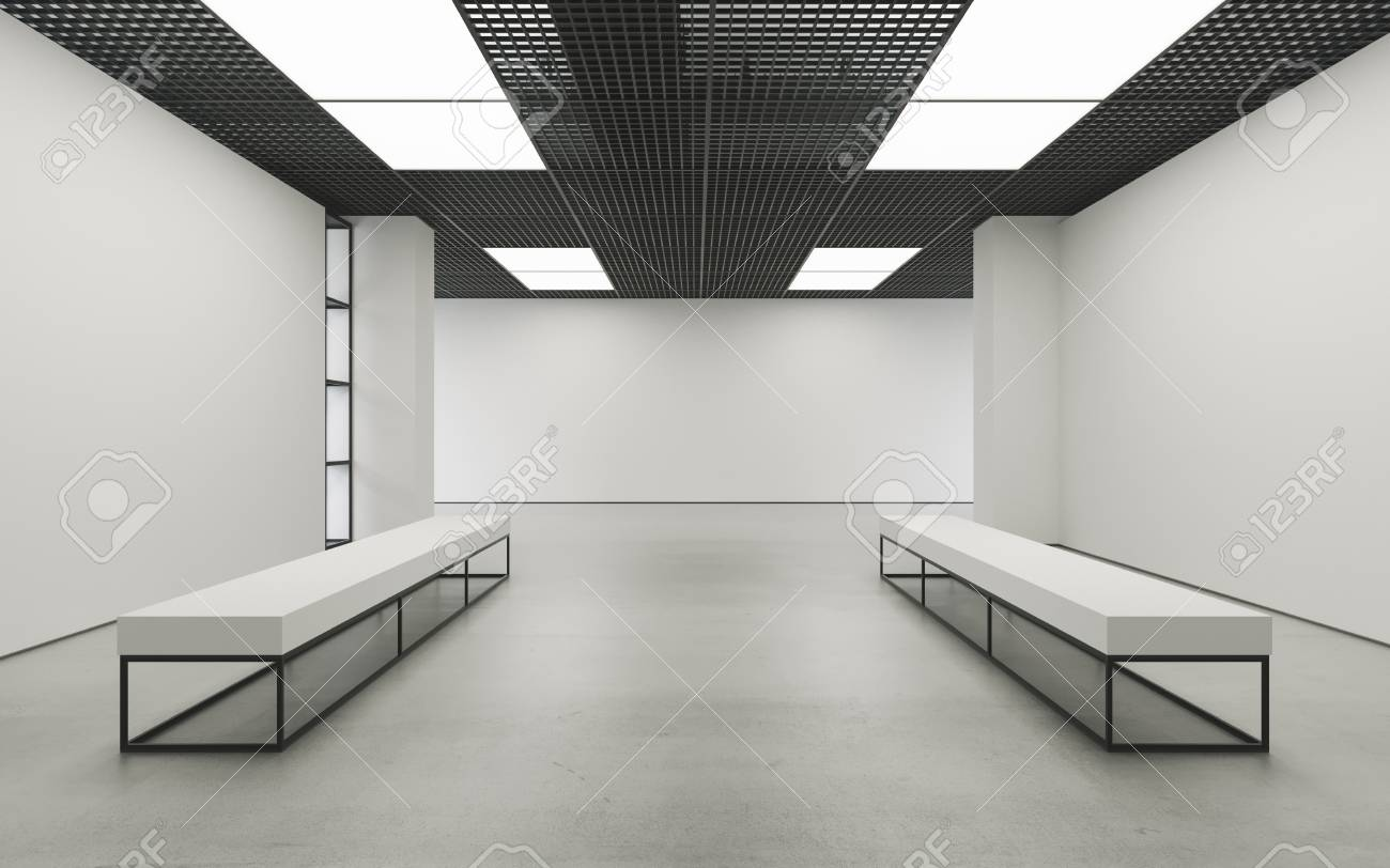 Modern empty minimalistic interior of exhibition with clean walls...