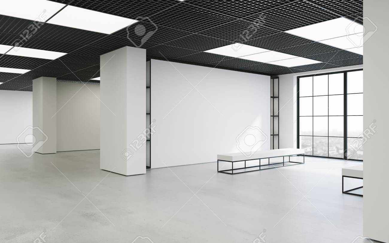 Modern empty minimalistic interior of exhibition with clean walls