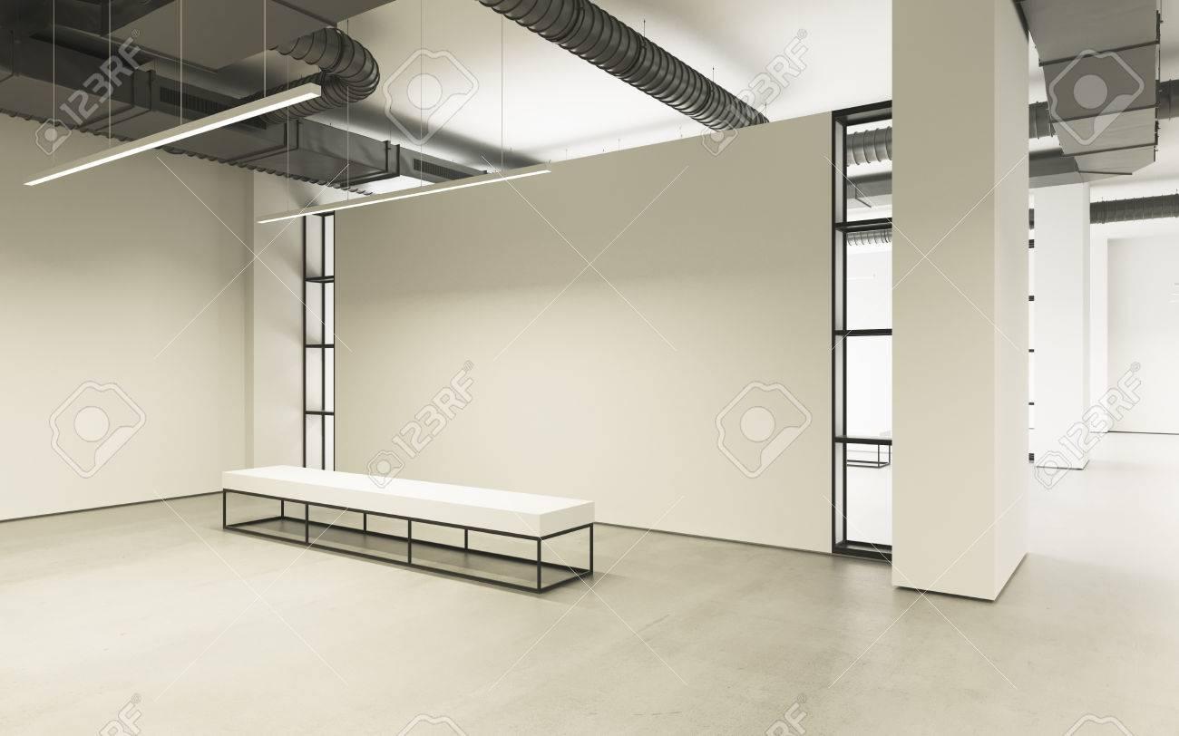 Moderner Leerer Minimalistischer Innenraum Der Ausstellung Mit Sauberen  Wänden. Loft Design, Kunstgalerie Oder Museum