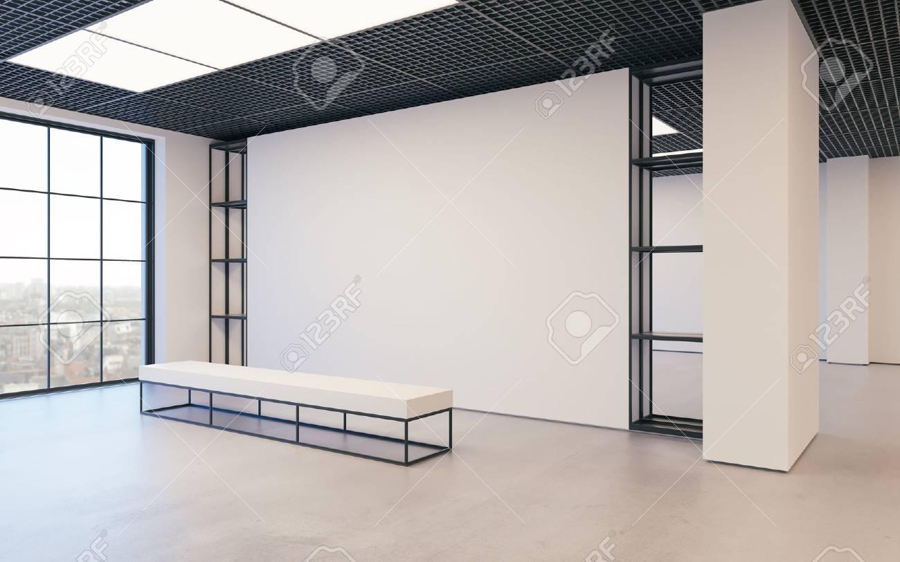 Moderne Leere Minimalistische Interieur Der Ausstellung Mit Sauberen ...