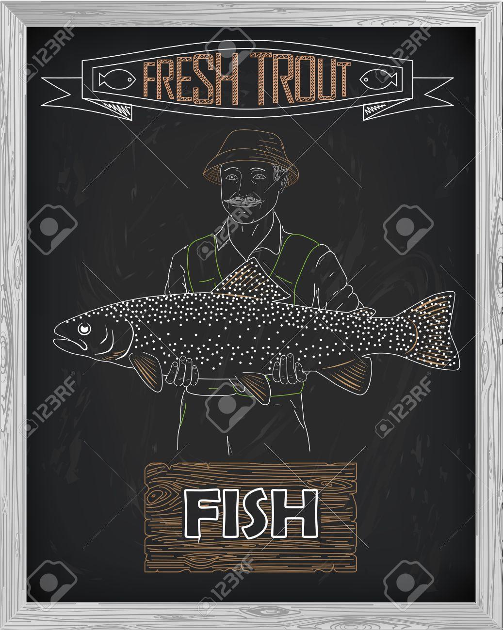 Schönes Muster Von Lachsforelle Fischer Mit Einer Zeichnung Von