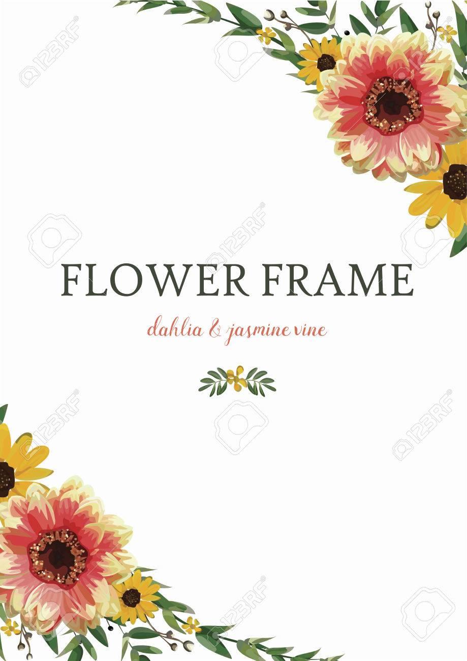 Blumen-Kranz Dahlia Sonnenblume, Eukalyptus Blätter Schönen Herbst ... - Einladungskarte Sonnenblume