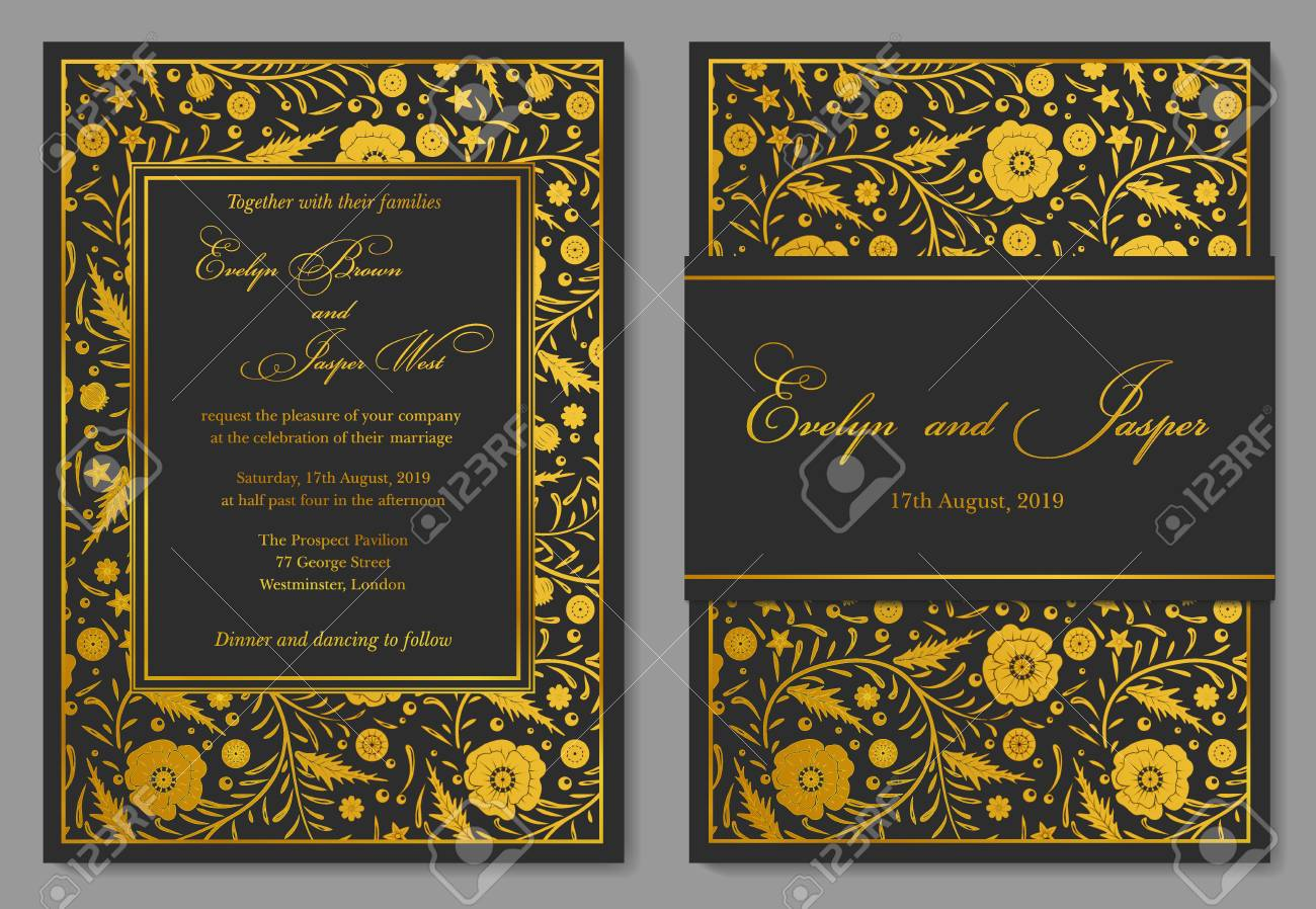 Wedding invitation floral invite card design with golden foil vector wedding invitation floral invite card design with golden foil border frame ornate gold poppy flowers on a black noble background stopboris Gallery