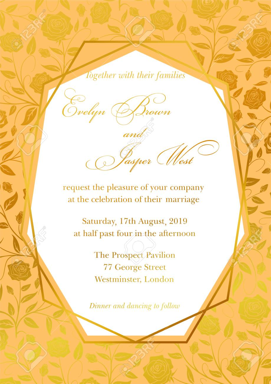 Wedding Invitation Luxury Roses Floral Invite Card Design With