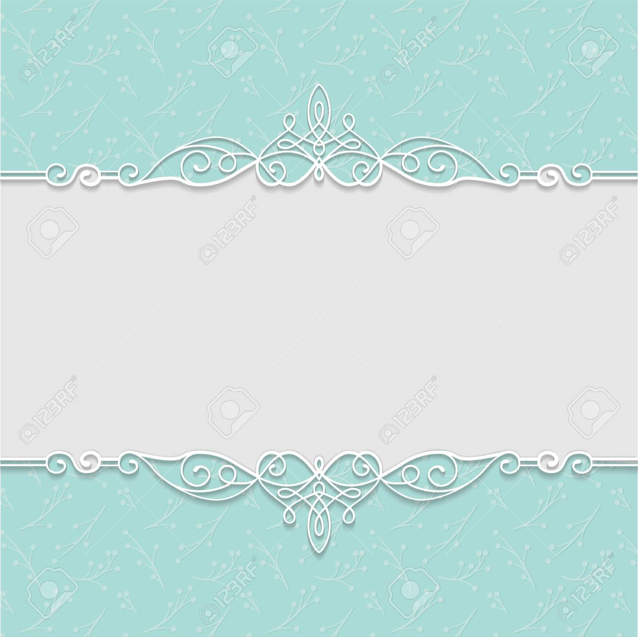Vector Elegant Frame In Turquoise Colors For Wedding Invitations