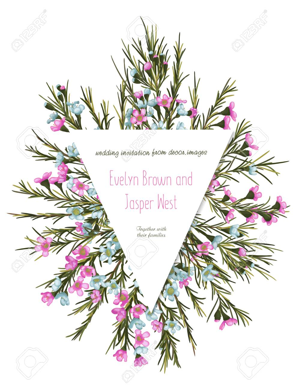 Cute Rustic Floral Greeting Card Wedding Invitation Banner Label Pink And Blue