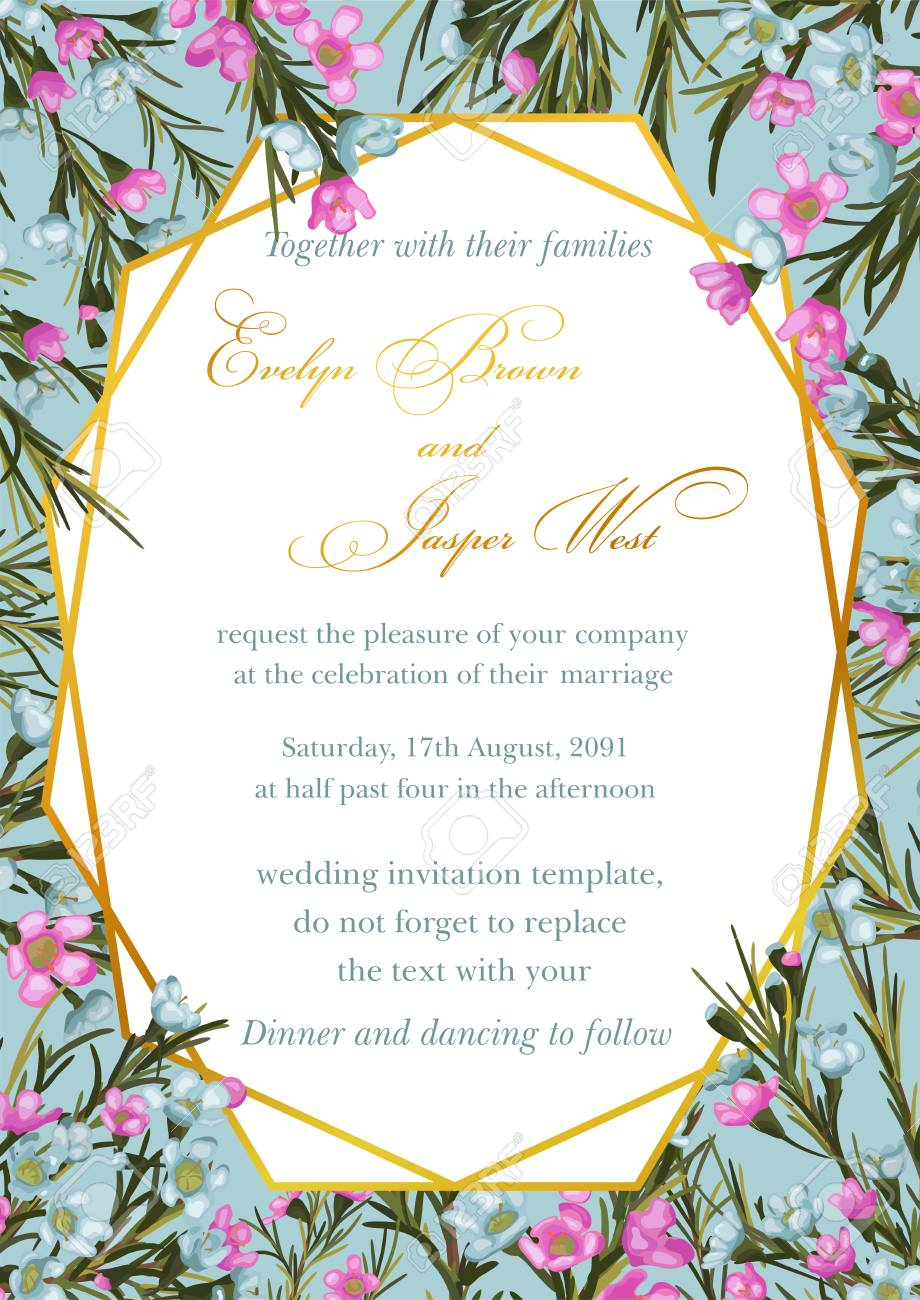 Wedding Invite Invitation Save The Date Card Design Blue And