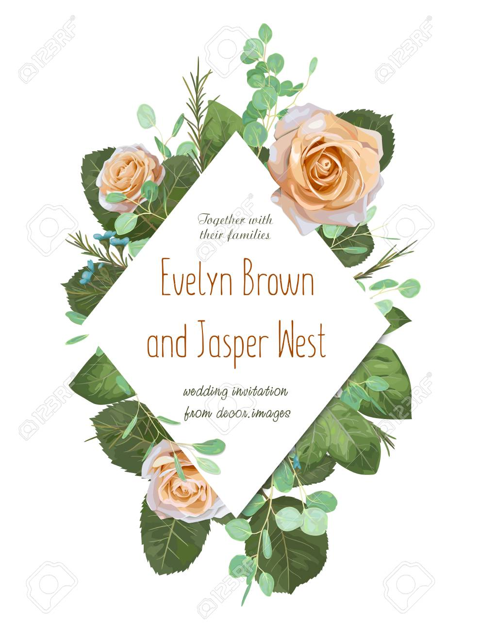 Floral Wedding Invitation Elegant Invite Card Vector Design Garden Flower Creamy Rose Waxflower Green Eucalyptus Tender Greenery Diamond Shaped