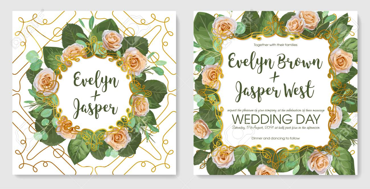 Beautiful Set Of Vintage Vector Wedding Invitation Greeting Card Banner Border Save Date Cream Pastel Roses With Leaves And Twigs Of Green