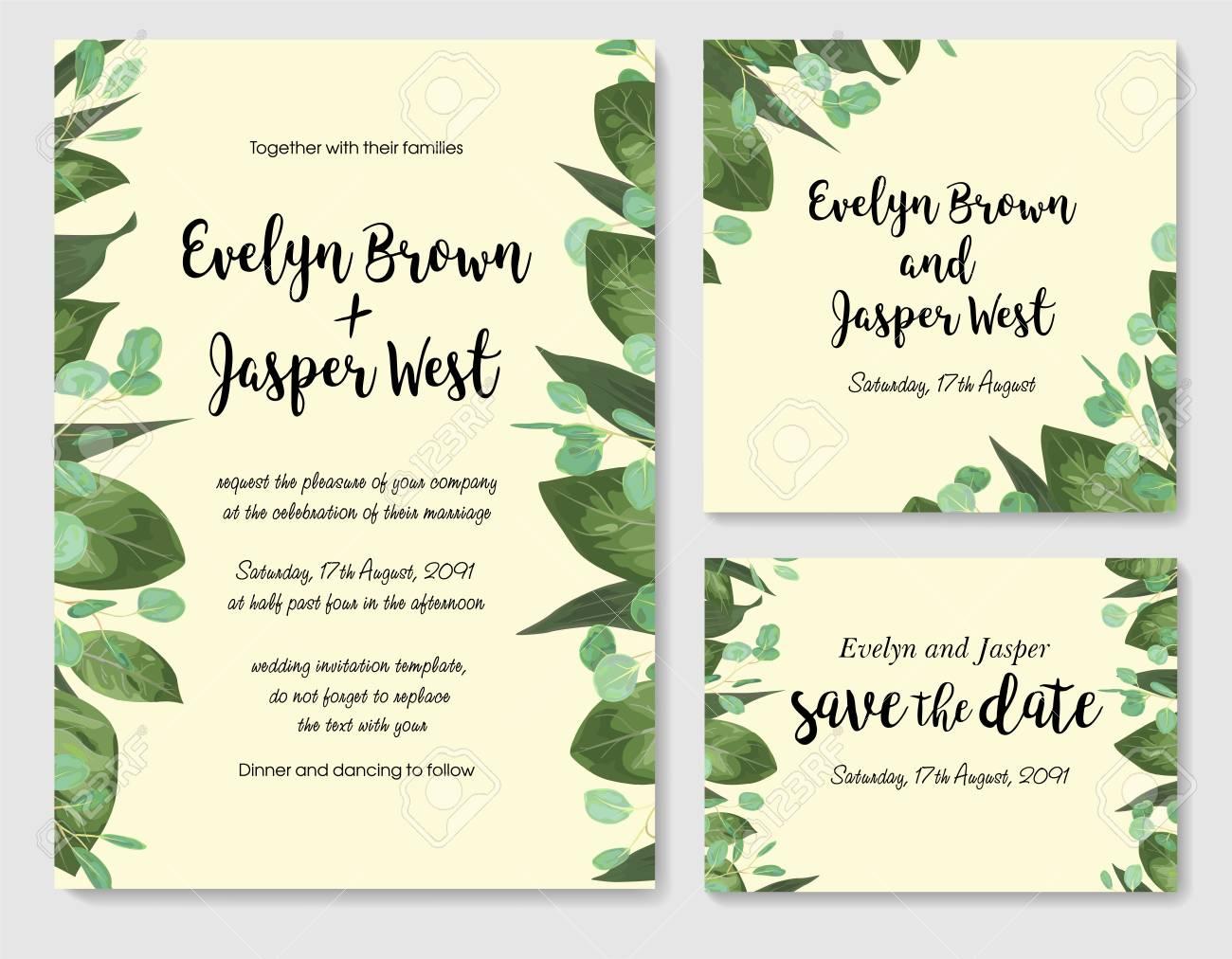 Wedding Floral Invitation Invite Card Vector Watercolor Style