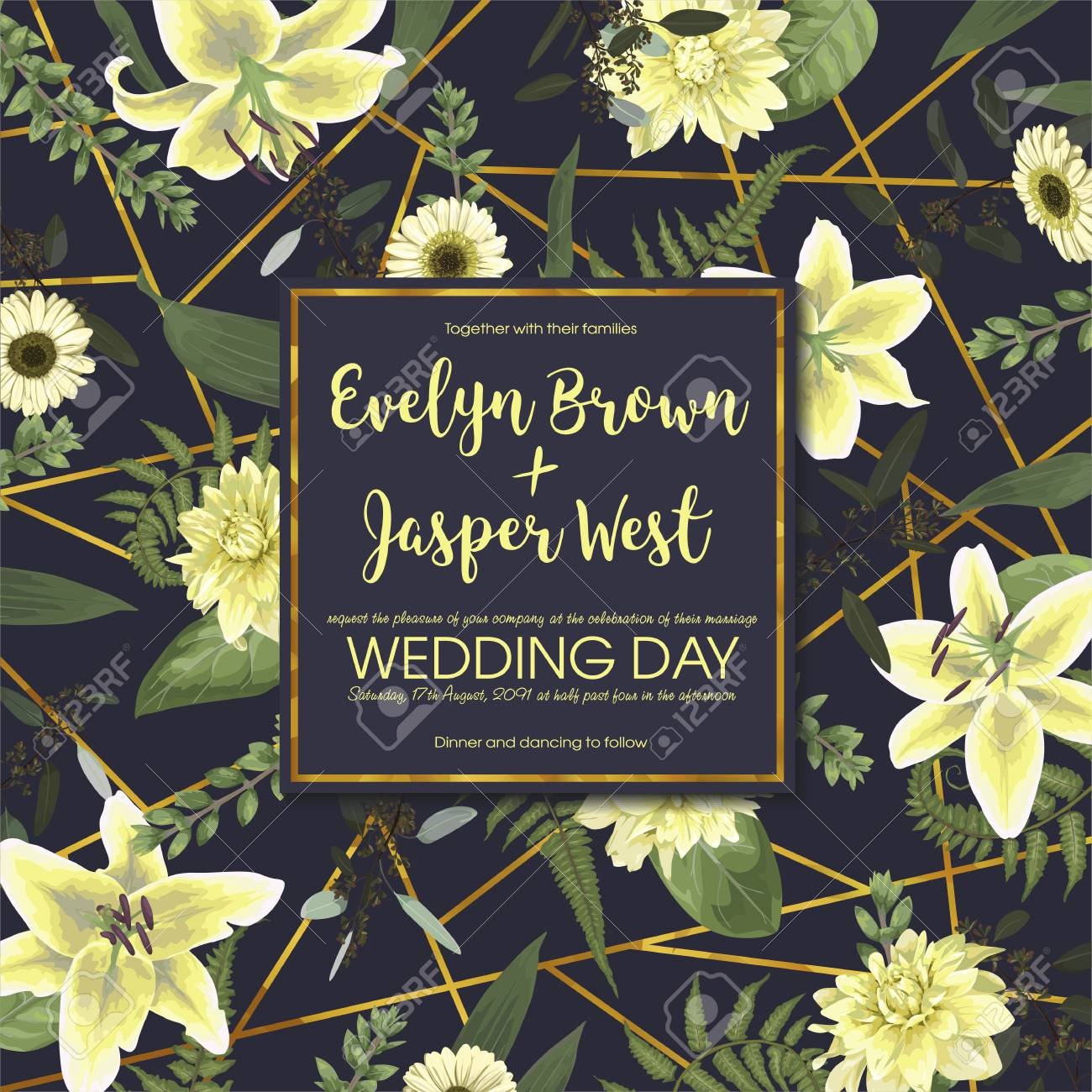 Wedding Floral Invitation Invite Card Vector Watercolor Green
