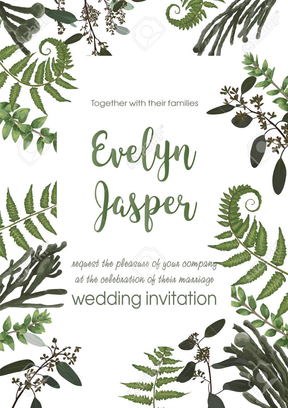 Wedding invite invitation card vector floral greenery design. Fern, eucalyptus, boxwood, botanical green, brunia. Decorative square. Postcard template - 126720777