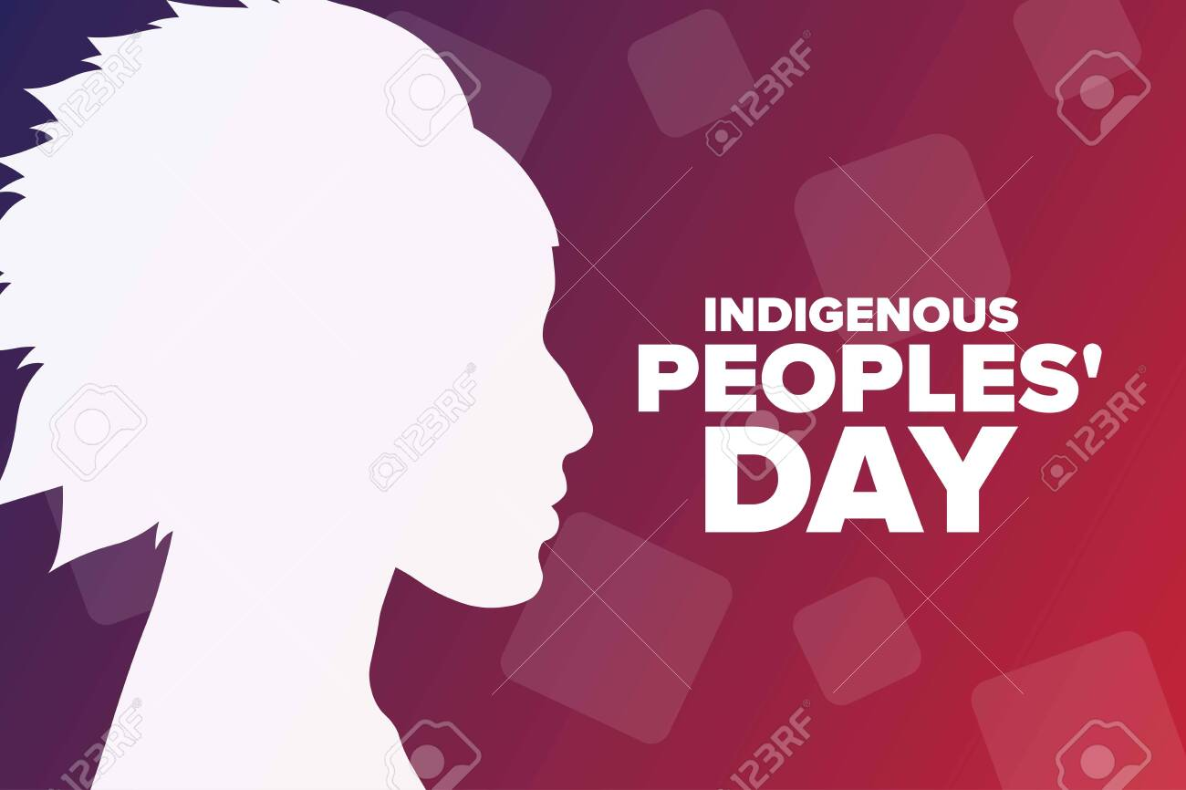 Indigenous Peoples Day. Holiday concept. Template for background, banner, card, poster with text inscription. Vector EPS10 illustration. - 155613563