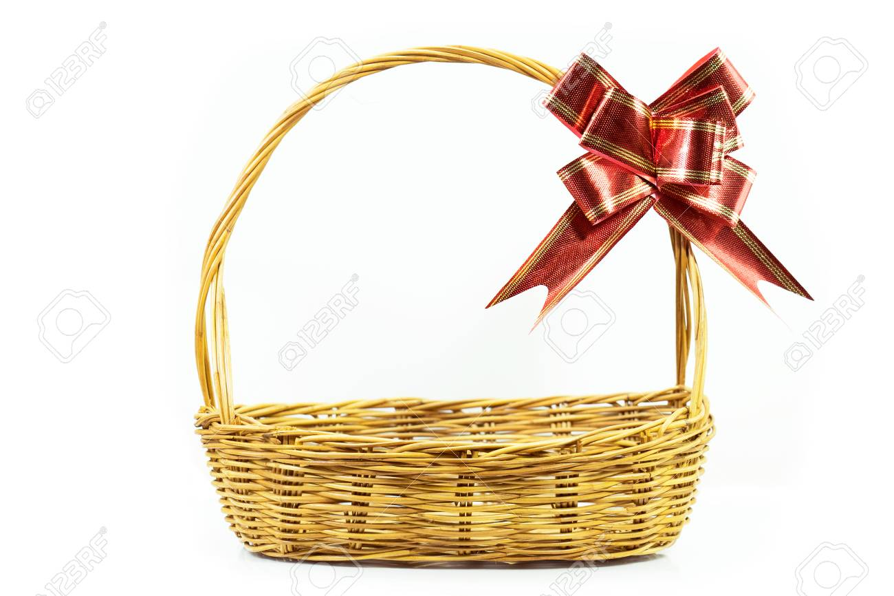 Empty wicker basket with red and gold ribbon isolated on white background Stock Photo - 92156380