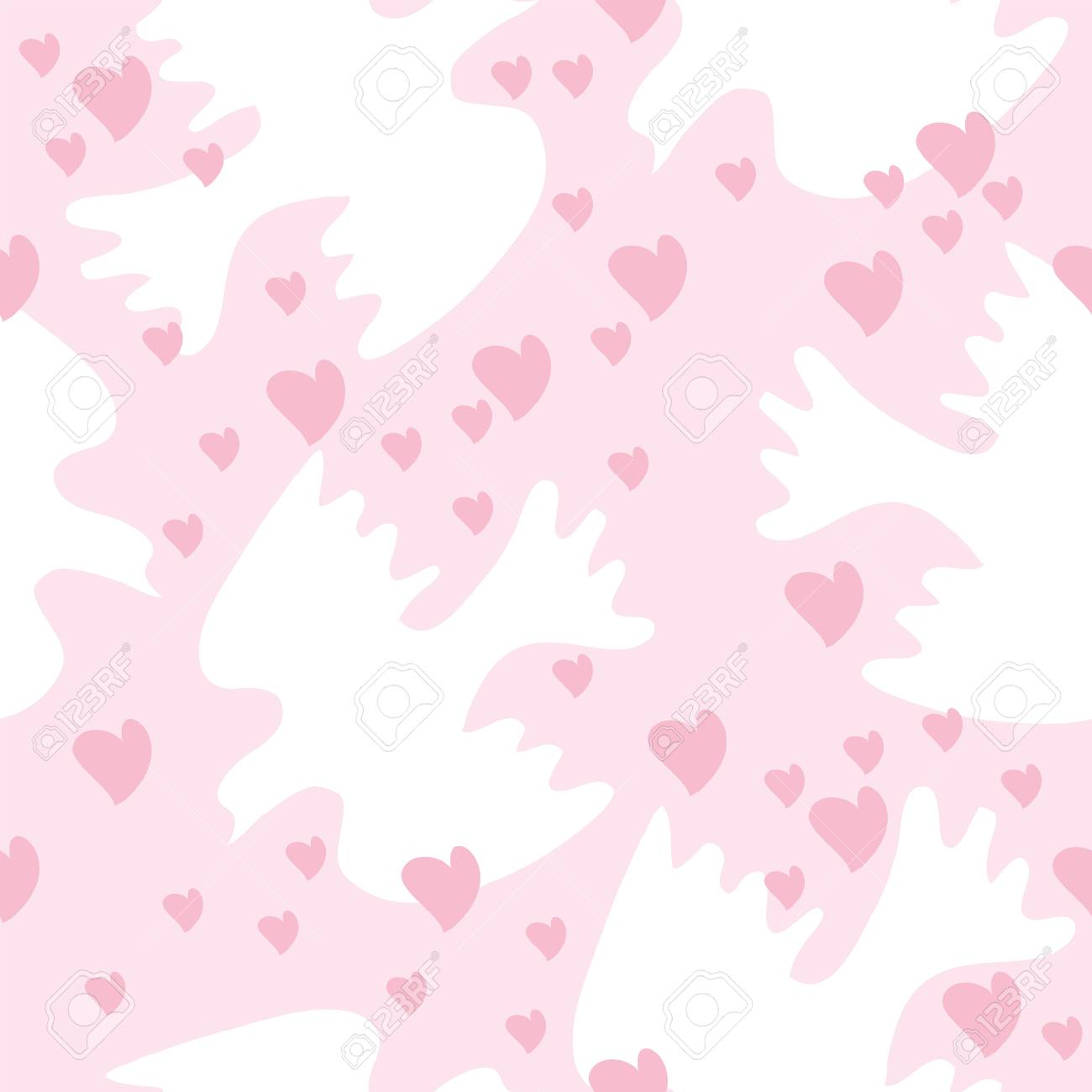 Seamless texture with doves and heart Stock Vector - 15209302
