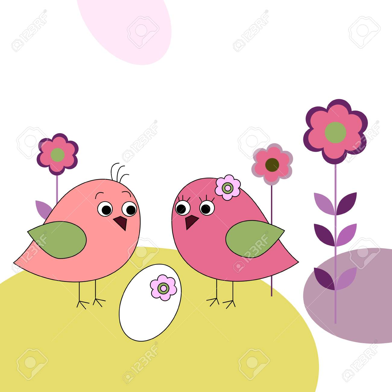 Family of a birds and eggs Stock Vector - 16316312
