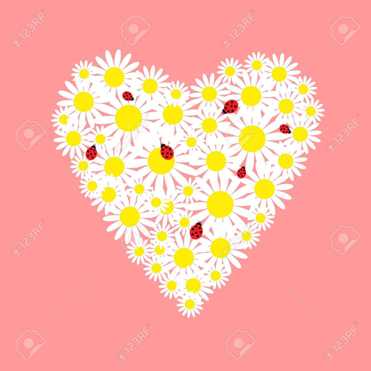 Heart of daisies with a red ladybugs Stock Vector - 16645766