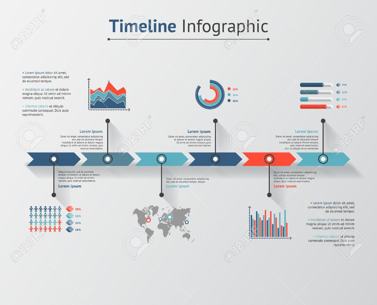 Mapa Del Tiempo En El Mundo.Infografia Vector De Linea De Tiempo Mapa Del Mundo