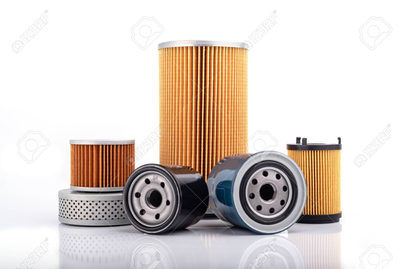 Auto parts accessories : Oil , fuel or air filter for engine car isolated on white background. - 121410293
