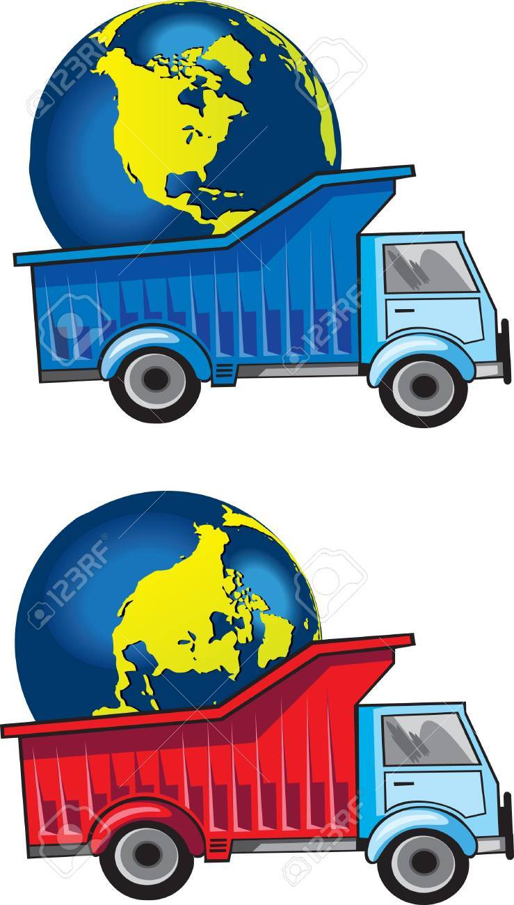 Track with planet Earth - our world. Delivering Earth to another place. Conceptual  drawing. Stock Photo - 7780319